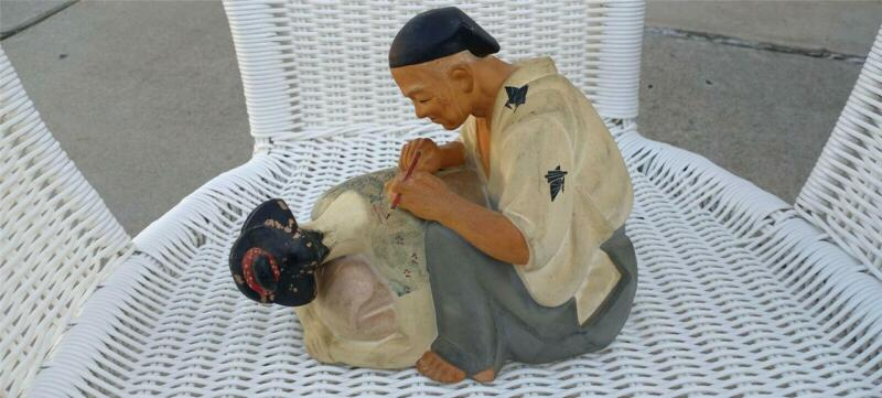 Tattoo Geisha Ceramic Figurine Large  Hakata urasaki