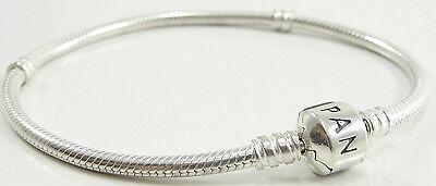 "Pandora Sterling Silver Snake Chain Charm Bracelet Pandora Clasp 590702HV 7 3/4"""