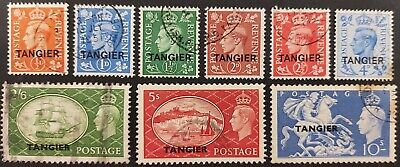 """Morocco Agencies 1950-51, KGV1 set of 9x stamps optd """"Tangier"""" used"""
