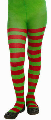 Red and Green Striped Child Christmas Elf Tights Size Large 12-14 (Red And Green Elf Tights)