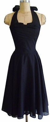 NWT Trashy Diva XS 2 4 Trixie Halter Dress Black Cotton Poplin 50s Circle Swing