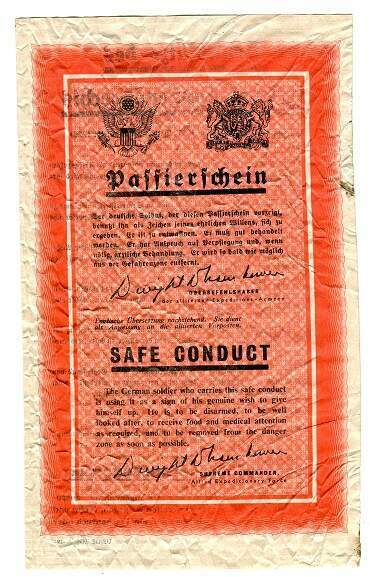 PROPAGANDA LEAFLET, ALLIED AIRCRAFT TO GERMAN FRONT LINE TROOPS