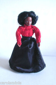 FLEXIBLE DOLL-BLACK WOMAN VICTORIAN DRESS REMOVABLE CLOTHES