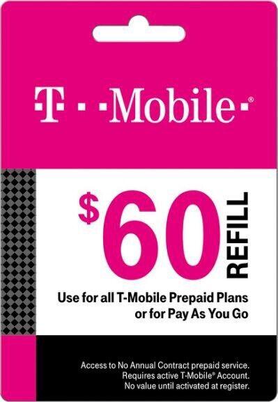 T-Mobile Prepaid $60 Refill Card (Direct)