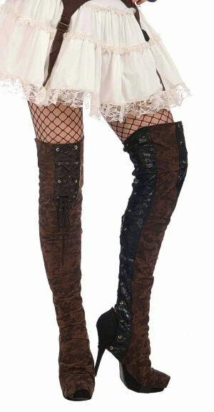 Adult Brown Steampunk Costume Faux Leather Thigh High Boot Tops | eBay