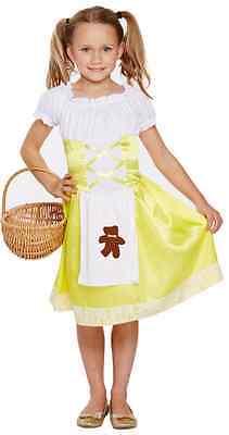 Mädchen Gelb Goldlöckchen Büchertag Halloween Kostüm Kleid Outfit 4-12 Jahre