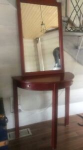 Mirror with accent table