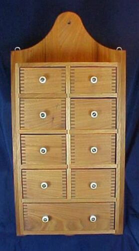 Walnut Wood 9 Drawer Spice Cabinet White Porcelain Knobs Dovetail Drawers