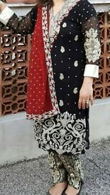 asian pakistani maroon and black dress