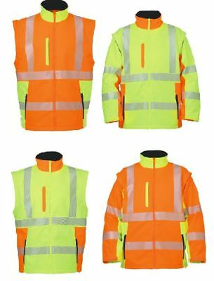 Softshell Warnschutzjacke  neongelb oder warnorange auch als Weste tragbar  NEU Neon Soft Shell