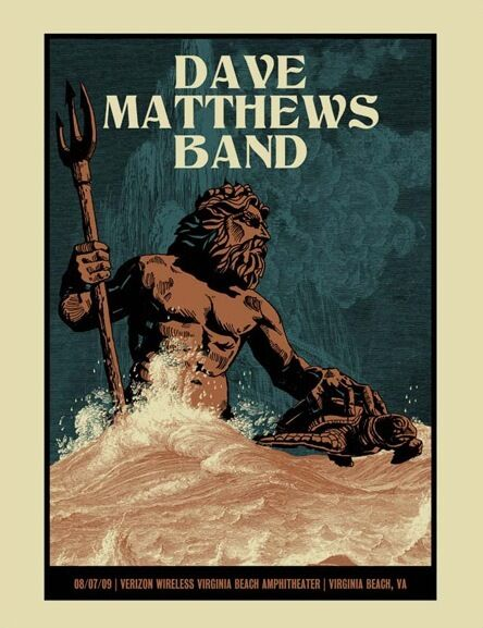 Dave Matthews Band Poster 2009 Virginia Beach VA Numbered #/500 Rare!!!