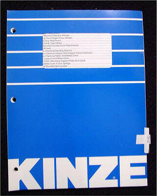 Kinze Model 3140 Planter Parts Catalog Manual Mint