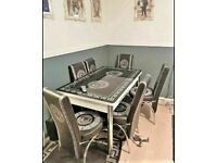 💖💖CHRISTMAS SALE⭐🌈 ON VERSACE GLASS EXTENDABLE DINING TABLE AND 6 CHAIRS WITH DELIVERY OPTIONS