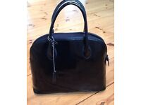Italian black patent leather handbag
