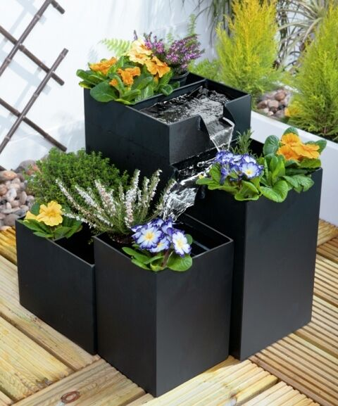 Gentil Black Planter Water Feature Self Contained Four Tier Iron Garden Fountain  Pot