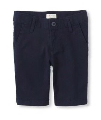 CHILDREN'S PLACE Girls Uniform SHORTS Sz 8 Navy Chino / Adj. Waist / NWT