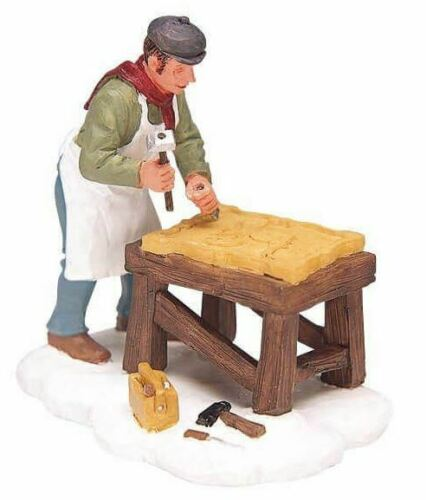 Lemax Christmas Village Town Carving A Sign 32680 Man Making Sign Wood Retired