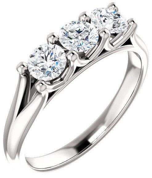 1.80 carat 3 Stone Round Diamond GIA D IF clarity Wedding Ring 14k White Gold