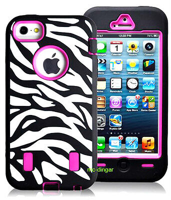 Black/Pink Zebra Heavy Duty Combo Rubber Soft Hard Case Cover For iPhone 5 5S