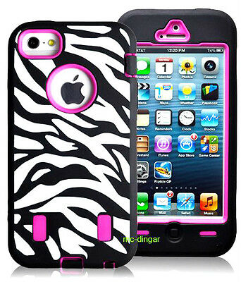 Black/Pink Zebra Heavy Duty Combo Rubber Soft Hard Case Cover For iPhone 5 5S (Best Protective Cover For Iphone 5s)