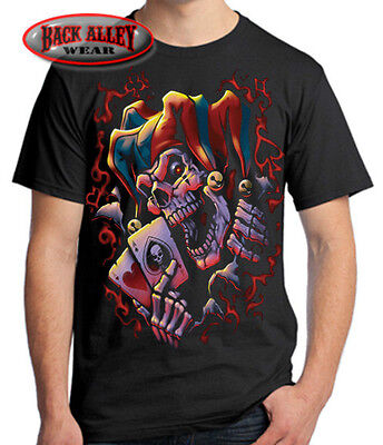 WICKED JESTER Joker Skull CLOWN T-SHIRT Biker Tee Hatchet Posse Aces ~ - Wicked Jester