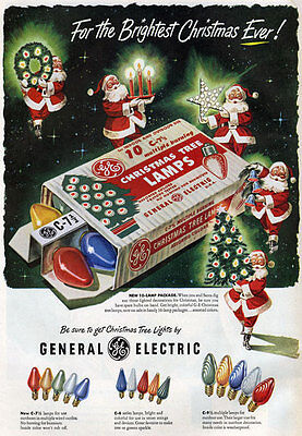 AD54 Vintage Christmas Tree Lights Advertisment Advertising Poster A4