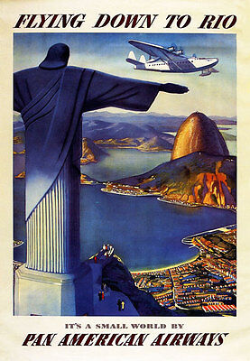 """TT4 Vintage Flying Down To Rio Travel Airlines Poster Re-Print A3 17""""x12"""""""