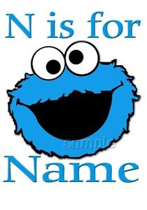 IRON on TRANSFER  PERSONALISED COOKIE MONSTER ALPHABET 10x12 SESAME STREET