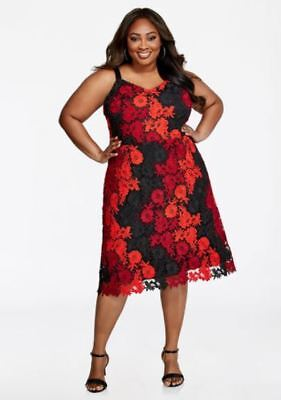 $159 Ashley Stewart Bebe Floral Crochet Lace Dress, Red & Black Plus Size