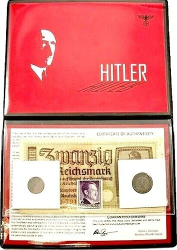 Adolf Hitler Album: Banknote, Stamp & Two Coins With Story & Certificate