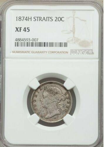 Straits Settlements Victoria 20 Cents 1874-H XF45 NGC Plate Coin !