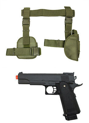 Halloween 3Pc Drop Leg Pistol Gun Holster Mag Pouch w Prop Gun Green CV2908G](Leg Gun Holster Halloween)