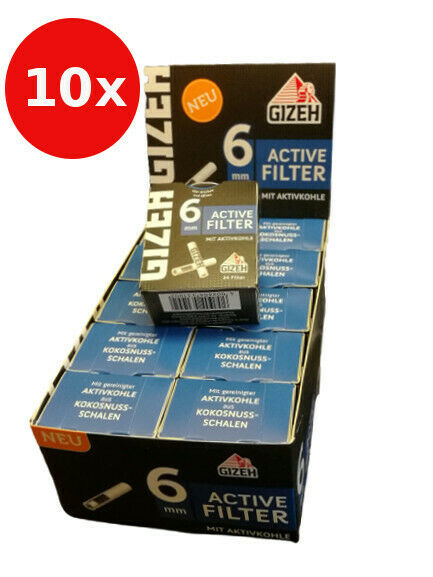 Gizeh Active Slim Filter - 10 x 34er Ø 6 mm - 34 St. Aktivkohle - Joint Tips
