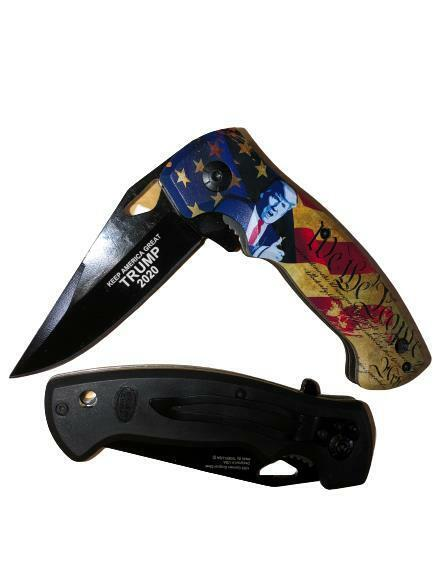 """8"""" TRUMP We The People """"Keep America Great 2020"""" Assisted Open Pocket Knife"""