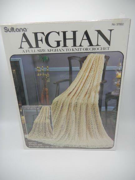 "Sultana Afghan Kit 37002 Full Size Knit Or Crochet 46-1/2"" x 64"" Vintage SEALED"