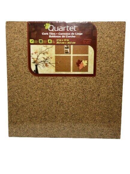 "Cork Panels Self-stick 12""x12"" 4 Pack Natural Easy Mount Tackable Soft Quartet"