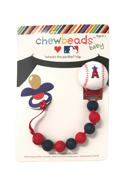 Chewbeads Baby Pacifier Clip Silicone Safe Angels MLB Baseba