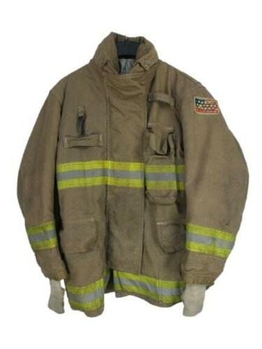 PPFD Inno-Tex Turnout Firefighter Brown Jacket Coat Yellow Tape Flag Large 42 R