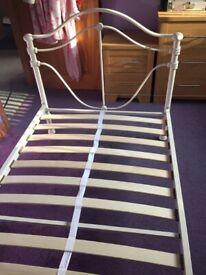 White Single Metal Framed Bed