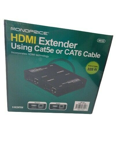 Monoprice HDMI extender Receiver & Sender ME100 - Cat5e or Cat6 Cable Brand New