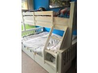 Bedroom Furniture (new condition, space saving, bed solid wood); COLLECTION ONLY