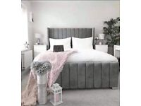 SALE ON FURNITURE-DOUBLE AND KING SIZE PLUSH VELVET ROYAL WING BED FRAME w OPTIONAL MATTRESS