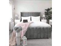 🎉Premium Quality🎊🎁KING SIZE PLUSH VELVET ROYAL WING BED FRAME w OPTIONAL MATTRESS