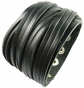 Mens Wide Leather Wristbands