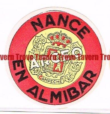 Unused 1940s MEXICO Campeche ARCEO NANCE EN ALMIBAR LIQUEUR Label