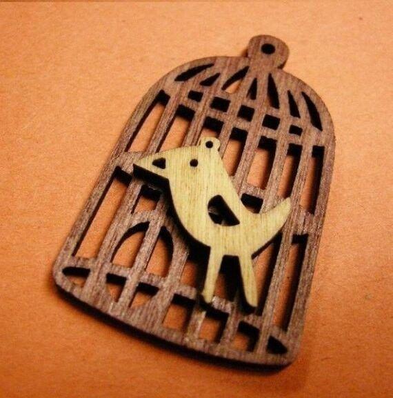 2pc bird with bird cage wood pendant-1067