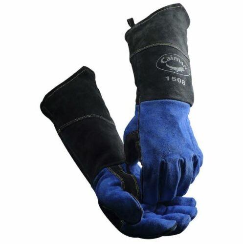 """Caiman 1508 MIG / STICK Welding Gloves 18"""" COW SPLIT KONTOUR One Size Large TIG"""