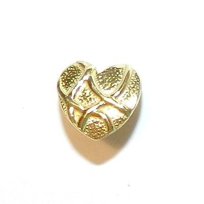 - M5192 Antiqued Gold Brass Accent Lined Heart 10mm Ice-Pick Pinch Bail 1pc