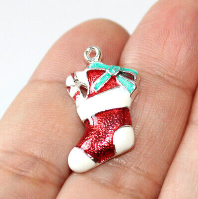 Christmas Stocking Charms Silver Plated Enamel (4 charms in one lot) ()