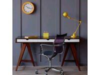 £270 - Premium Office - Blue Suntree Trestle Office Desk - Brown - Wood veneer